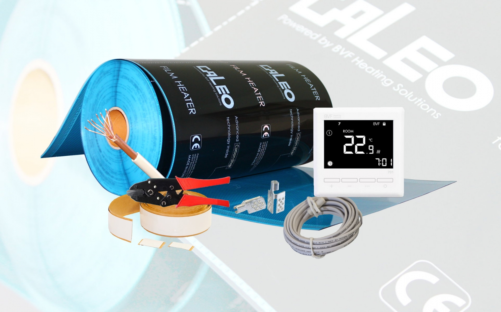 Električno podno grijanje - SET - grijaći film (folija) sa termostatom i elementima za spajanje